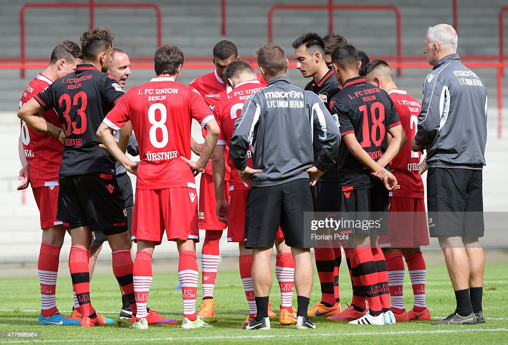 The team of the 1 FC Union Berlin during the training of Union Berlin on June 21, 2015 in Berlin, Germany.