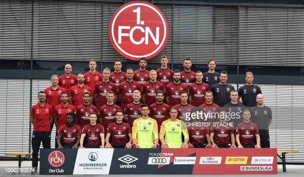 The team of the German first division Bundesliga team 1 FC Nuremberg poses during a photo call in Nuremberg southern Germany on July 16 2018 First...