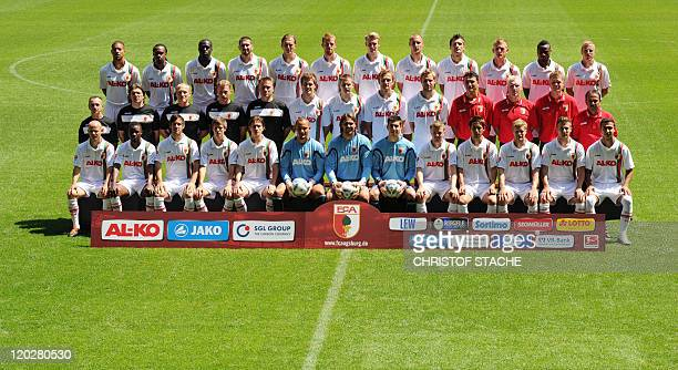 The team of the German first division Bundesliga team FC Augsburg poses for a group photo during the team presentation at the SGLArena on July 26...