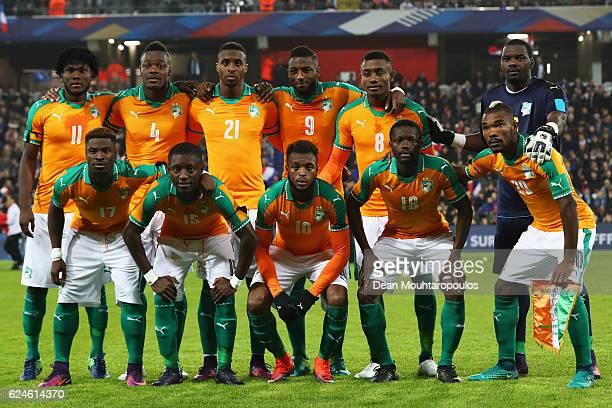 The team of The Ivory Coast pose prior to the International Friendly match between France and Ivory Coast held at Stade Felix Bollaert Deleis on...
