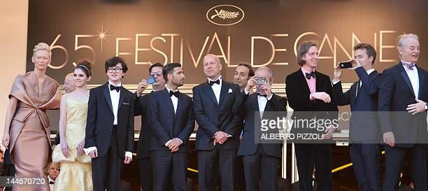 The team of the movie British actress Tilda Swinton actress Kara Hayward US actor Jared Gilman US scriptwriter Roman Coppola US actor Jason...