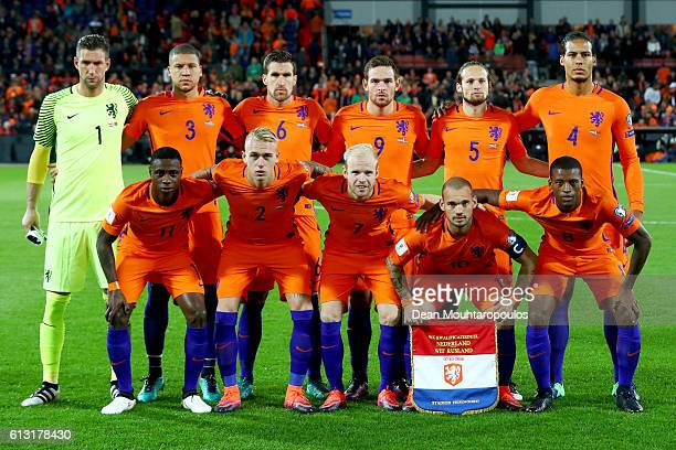 The team of the Netherlands line up prior to the FIFA 2018 World Cup Qualifier between Netherlands and Belarus held at De Kuip on October 7 2016 in...