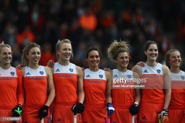 The team of the Netherlands line up prior to the Women's FIH Field Hockey Pro League match between Netherlands and USA at HC Rotterdam on April 14,...