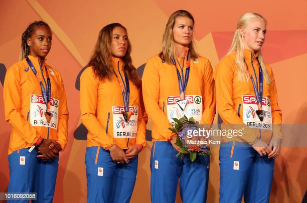The team of the Netherlands silver pose with their medals for the Women's 4x100 metres Relay during day six of the 24th European Athletics...