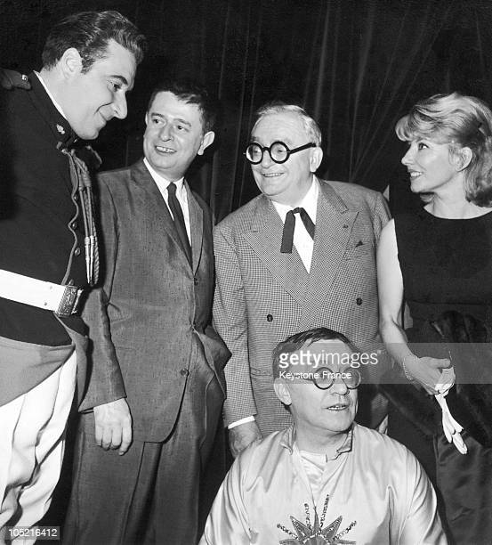 The Team Of The Play Le Moulin A Poivre Sketch By Robert Rocca And By Jacques Grello At The Theatre Des TroisBaudets At The Premiere Of The Play On...