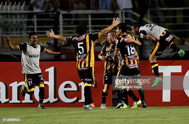 The team of The Strongest celebrates scoring the first goal during a match between Sao Paulo v The Strongest as part of Group 1 of Copa Bridgestone...