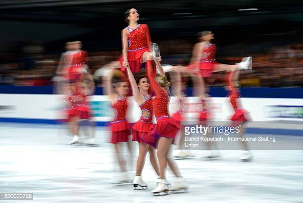 The team of the United States of America 2 skates during the Synchronized Skating Free Skating of the ISU World Synchronized Skating Championships...