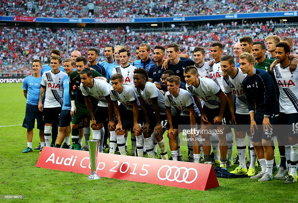 The team of Tottenham Hotspur celebrate their 3rd place during the Audi Cup 2015 third place match between AC Milan and Tottenham Hotspur at Allianz Arena on August 5, 2015 in Munich, Germany.