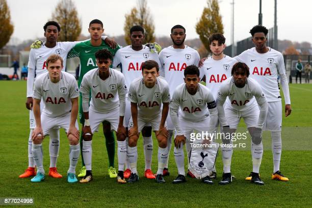 The team of Tottenham poses prior to the UEFA Youth League match between Borussia Dortmund and Tottenham Hotspur at Training Ground Brakel on...