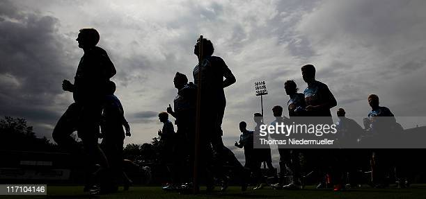 The team of TSG 1899 Hoffenheim runs during a training session at the DietmarHopp Stadion on June 22 2011 in Hoffenheim Germany
