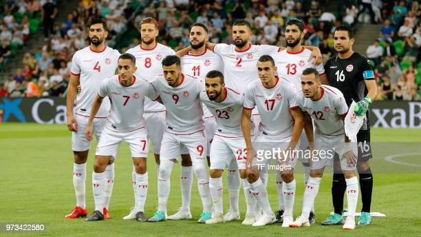 The team of Tunisia is seen prior to the friendly match between Spain and Tunisia at Krasnodar's stadium on June 9 2018 in Krasnodar Russia