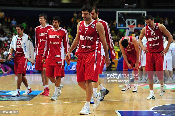The team of Turkey looks dejected after losing 6768 the EuroBasket 2011 second round group E match between Serbia and Turkey at Siemens Arena on...