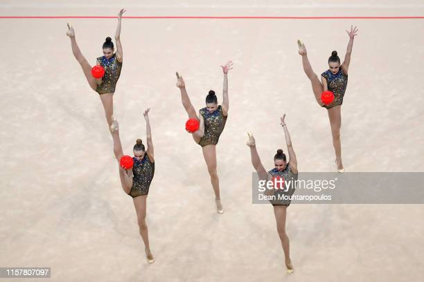 The team of Ukraine compete in the Rhythmic Gymnastics Women's Group Multiple Competition 5 Balls Final during the 2nd European Games held in the...