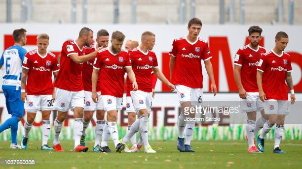 The Team of Unterhaching celebrate the Goal 11 for Unterhaching during the 3 Liga match between SV Meppen and SpVgg Unterhaching at HaenschArena on...