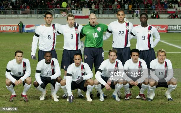 The team of USA back row Clint Dempsey Gregg Berhalter Kasey Keller Oguchi Onyewu Eddie Johnson Front row Steve Cherundolo DaMarcus Beasly Landon...