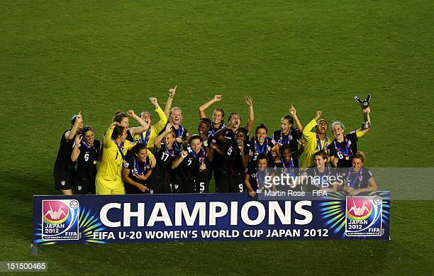 The team of USA celebrate after winning the FIFA U-20 Women's World Cup Japan 2012, Final match between USA and Germany at National stadium on...