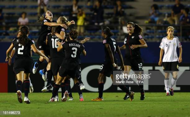 The team of USA celebrate their opening goal during the FIFA U-20 Women's World Cup Japan 2012, Final match between USA and Germany at National...