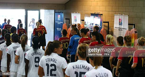 The team of USA lines up before the FIFA U20 Women's World Cup 2012 group D match between USA and Germany at Miyagi Stadium on August 27 2012 in...