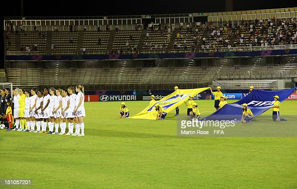 The team of USA lines up before the FIFA U-20 Women's World Cup Japan 2012, Quarter Final match between Korea DPR and USA at Komaba Stadium on August...