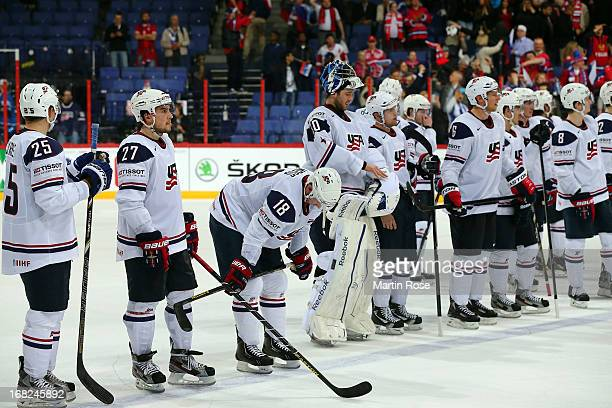 The team of USA looks dejected after the IIHF World Championship group H match between Russia and USA at Hartwall Areena on May 7, 2013 in Helsinki,...