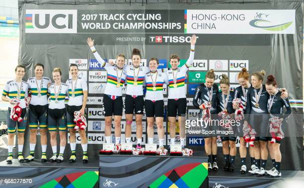 The team of USA with Kelly Catlin Chloe Dygert Kimberly Geist and Jennifer Valente celebrates winning the Women's Team Pursuit Finals as part of the...