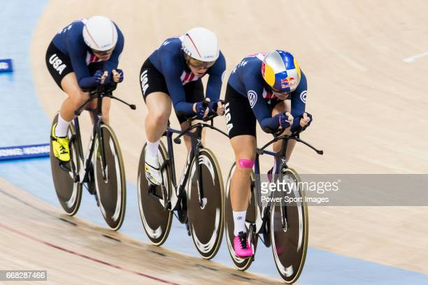 The team of USA with Kelly Catlin Chloe Dygert Kimberly Geist and Jennifer Valente competes in the The team of USA with Kelly Catlin Chloe Dygert...