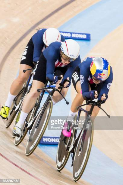 The team of USA with Kelly Catlin Chloe Dygert Kimberly Geist and Jennifer Valente competes in the Women's Team Pursuit Finals during 2017 UCI World...