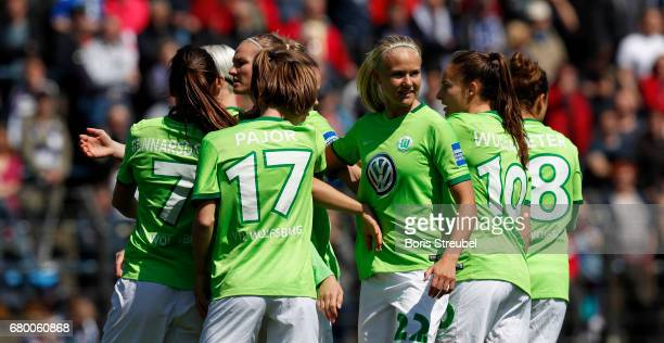 The team of VfL Wolfsburg celebrate the first goal during the Allianz Women's Bundesliga match between Turbine Potsdam and VfL Wolfsburg at...