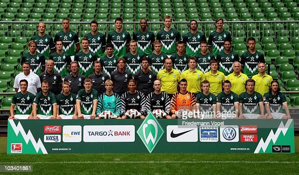 The team of Werder Bremen Petri Pasanen Sandro Wagner Sebastian Boenisch Sebastian Proedel Naldo Per Mertesacker Hugo Almeida Tim Borowski Clemens...