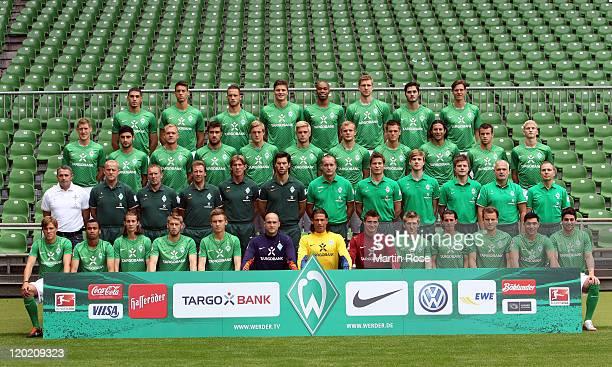 The team of Werder Bremen poses during the Werder Bremen team presentation at Weser stadium on August 1, 2011 in Bremen, Germany.