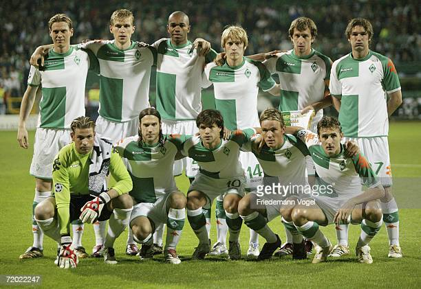 The team of Werder line up prior to the UEFA Champions League group A match between Werder Bremen and FC Barcelona at the Weser Stadium on September...
