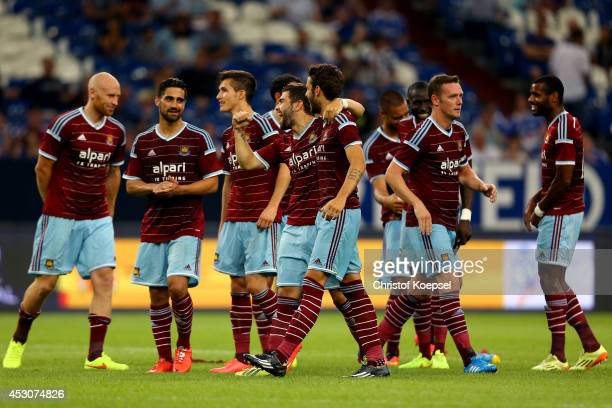 The team of West Ham United celebrates after the match between FC Schalke 04 and West Ham United as part of the Schalke 04 Cup Day at Veltins-Arena...