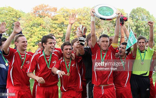 The team of Wuerttemberg celebrates after winning the U21 Federal State Cup of the German Football Association DFB at the Sportschule Wedau on...