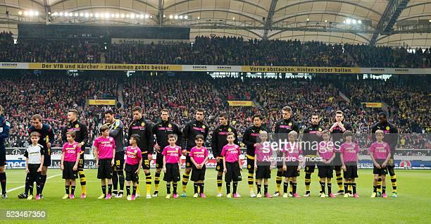 The team of��Borussia Dortmund��during the Bundesliga match between��VfB Stuttgart v��Borussia Dortmund at MercedesBenz Arena on April 23 2016 in...