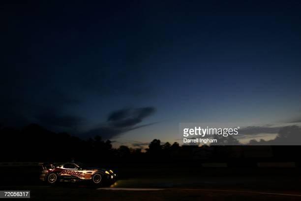 The Team Panoz Esperante GTLM driven by David Brabham, Sebastien Bourdais and Scott Maxwell races during the American Le Mans Series Petit Le Mans at...