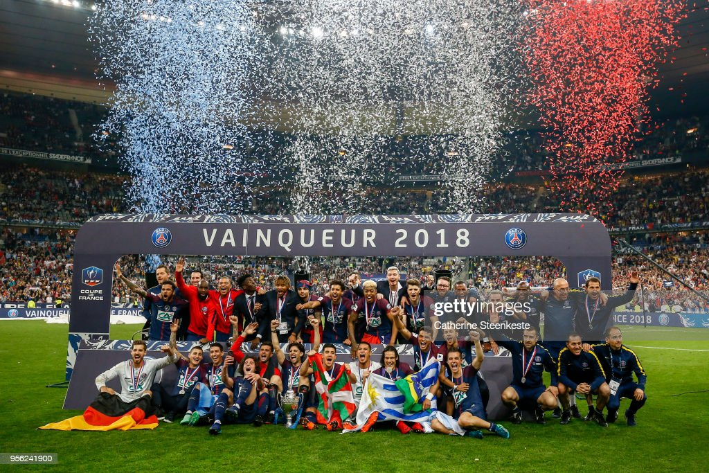 The team Paris Saint-Germain celebrates the victory of the Coupe de France Final between Les Herbiers VF and Paris Saint-Germain at Stade de France on May 8, 2018 in Paris, France.