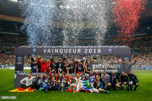 The team Paris SaintGermain celebrates the victory of the Coupe de France Final between Les Herbiers VF and Paris SaintGermain at Stade de France on...