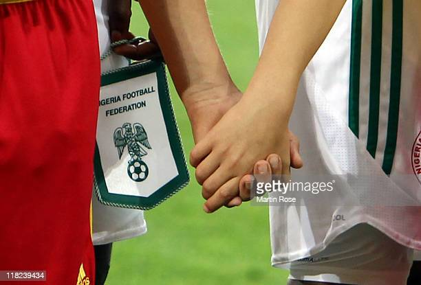 The team pennant of Nigeria is pictured before the FIFA Women's World Cup 2011 Group A match between Canada and Nigeria at RudolfHarbigStadion on...