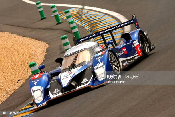 The Team Peugeot Total Peugeot 908 driven by Alexander Wurz, Marc Gene and Anthony Davidson during practice for the 78th running of the Le Mans 24...