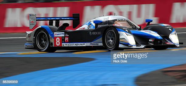 The Team Peugeot Total Peugeot 908 driven by Sebastien Bourdais Franck Montagny and Stephane Sarrazin is shwon during practice for the 77th running...