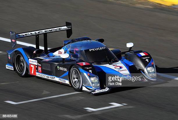 The Team Peugeot Total Peugeot 908 of Nic Minassian Pedro Lamy and Christian Klien during warm up prior tothe 77th running of the Le Mans 24 Hour...