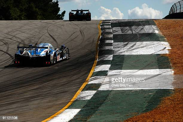 The Team Peugeot Total Pugeot 908 HDI FAP driven by Franck Montagny and Stephane Sarrazin drives during practice for the American Le Mans Series...