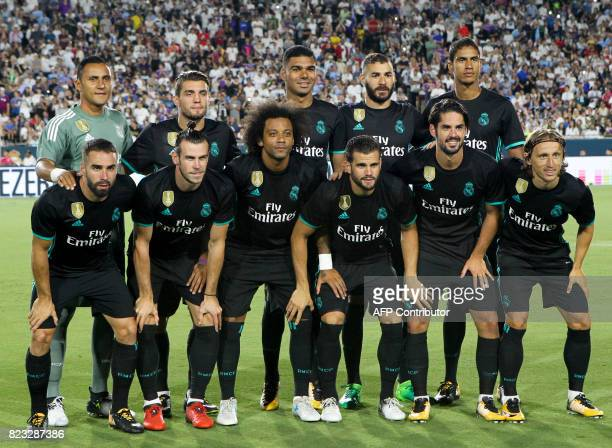 The team photo of Real Madrid before their International Champions Cup football match on July 26 2017 at the Los Angeles Memorial Coliseum in Los...