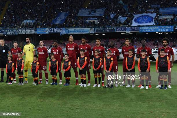 The Team Pic of Liverpool during the Group C match of the UEFA Champions League between SSC Napoli and Liverpool at Stadio San Paolo on October 3,...