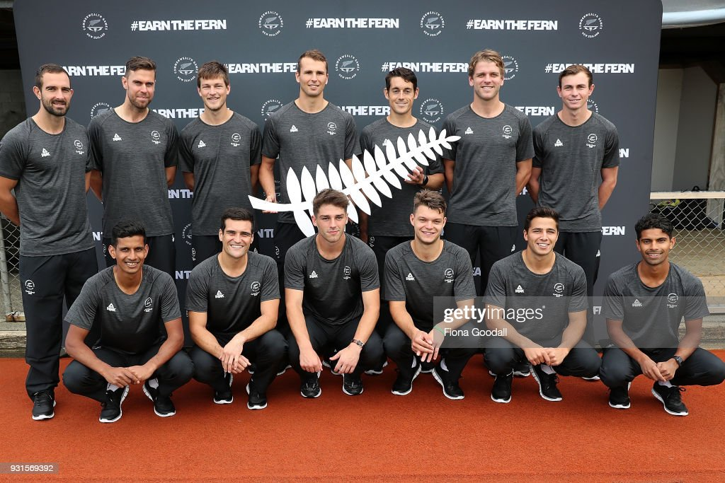 The team poses during the New Zealand Commonwealth Games Men's Hockey Team Selection Announcement at Harbour Hockey on March 14, 2018 in Auckland, New Zealand.