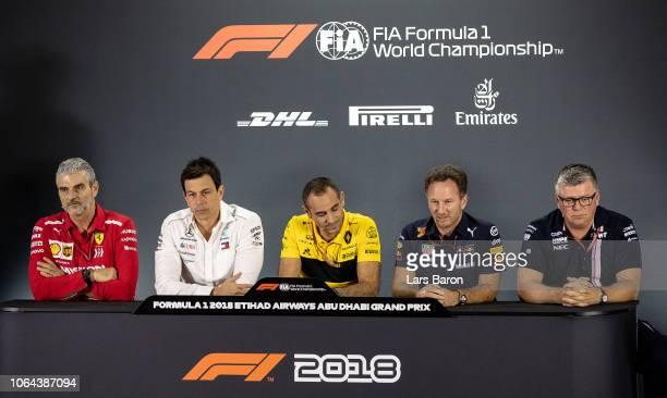 The Team Principals Press Conference with Ferrari Team Principal Maurizio Arrivabene Mercedes GP Executive Director Toto Wolff Renault Sport F1...