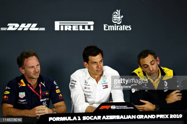 The Team Principals Press Conference with Red Bull Racing Team Principal Christian Horner Mercedes GP Executive Director Toto Wolff and Renault Sport...