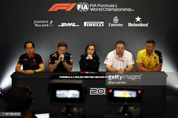 The Team Principals Press Conference with Toyoharu Tanabe of Honda Red Bull Racing Team Principal Christian Horner Williams Deputy Team Principal...