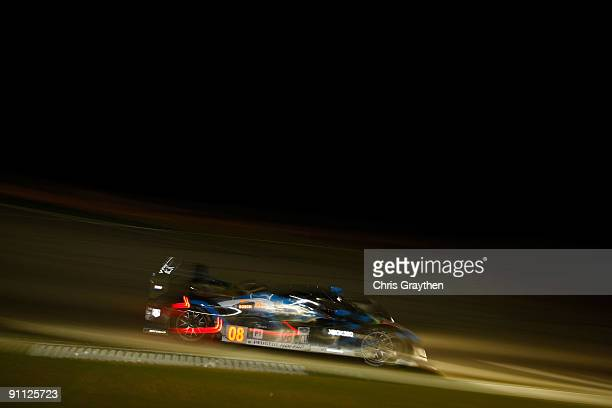 The Team Puegeot Total Peugeot 908 HDI FAP driven by Franck Montagny and Stephane Sarrazin drives during practice for the American Le Mans Series...