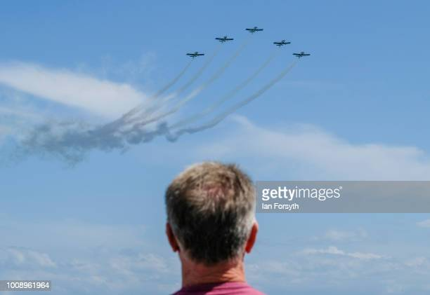 The Team Raven display team performs during the 30th Sunderland International Air show on July 28 2018 in Sunderland England Held over three days on...